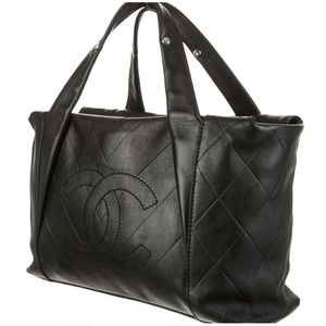 Authentic Chanel CC All Day Long Chevron Tote